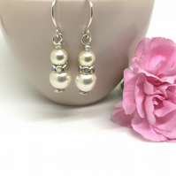 Sterling Silver Pearl Earrings, Gift For Her