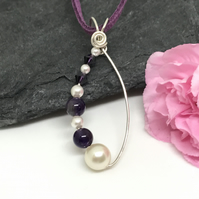 Sterling Silver, Pearl, Amethyst and Crystal Pendant, Gift For Her