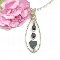 Sale - Sterling Silver Hematite Heart Pendant, Gift For Her