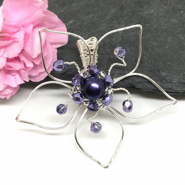 Silver & Purple Freshwater Pearl Flower Pendant, Gift For Her,