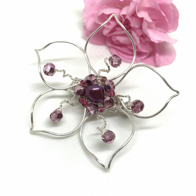 Silver Plated Flower Brooch with Pink Freshwater Pearl