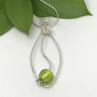 Sterling Silver and Lime Green Pendant, Gift For Her