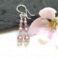 Sterling Silver Pink Pearl Earrings,Gift For Her