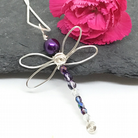 Purple Dragonfly Pendant, Silver Plated, Gift For Her