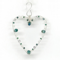 Heart Decoration, Silver Plated Beaded Heart.  Hanging Decoration