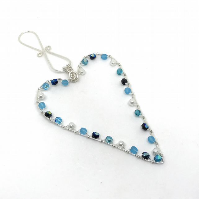 Silver Heart Decoration, Crystals and Pearls. Blue, Hanging Heart Decoration