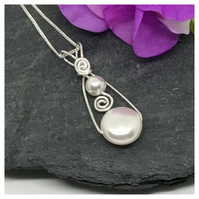 Sterling Silver Pearl Pendant, White Pearls,  Gift For Her