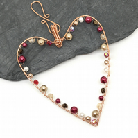 Heart Decoration, Pearls and Crystals, Copper Wire Heart