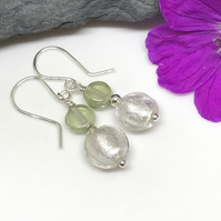 Sterling Silver, Green and White Earrings