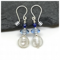 Sterling Silver Drop Earrings in Shades of Blue, Gift for her