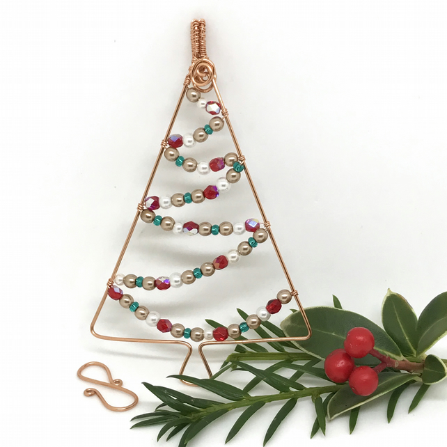 Copper Christmas Tree Decoration, Hanging Decoration, Xmas Tree