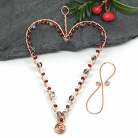 Heart Decoration, Copper Heart, Christmas Decoration, Gift for Her,
