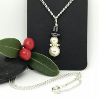 Snowman Pendant, Pearl Pendant, Hematite and Pearls, Gift For Her