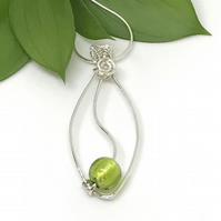 Sterling Silver and Lime Green Pendant, Simple Elegance, Gift For Her
