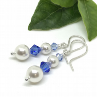 Silver Pearl & Crystal Earrings, Swarovski® Crystal, Gift for her, Sapphire Blue
