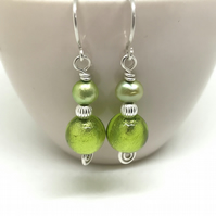 Vibrant Green Drop Earrings, Sterling Silver, Gift for Her