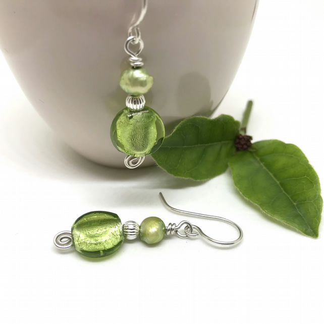 Sterling Silver Green Drop Earrings, Lime Green, Gift For Her