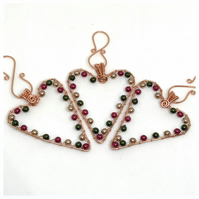 Copper Heart Decorations, Christmas Hearts, Christmas Decorations.