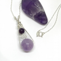Silver Amethyst Pendant, Gift For Her, February Birthstone