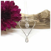 Silver Heart Pendant, Sterling Silver