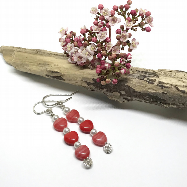Heart Earrings, Red Hearts and White Pearls, Gift For Her