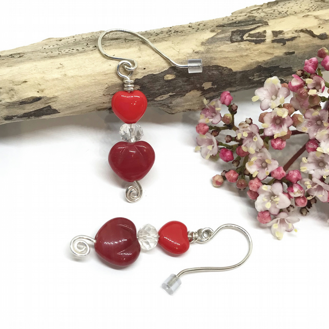 Sterling Silver Red Heart &  Crystal Earrings, Gift For Her