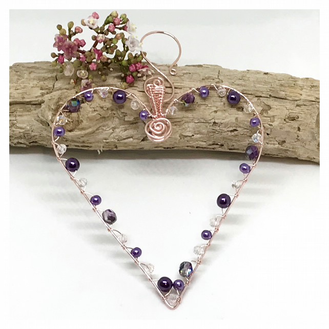 Heart Decoration, Rose Gold Coloured Copper Wire, Purple Beads