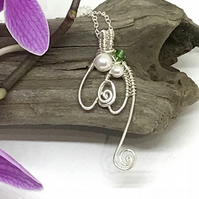 Sterling Silver Snowdrop Pendant, Pearls and Crystals, Gift for Her