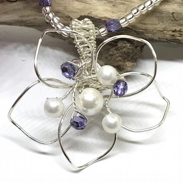 Flower Pendant with Shell Pearl & Czech Crystals, Silver Plated