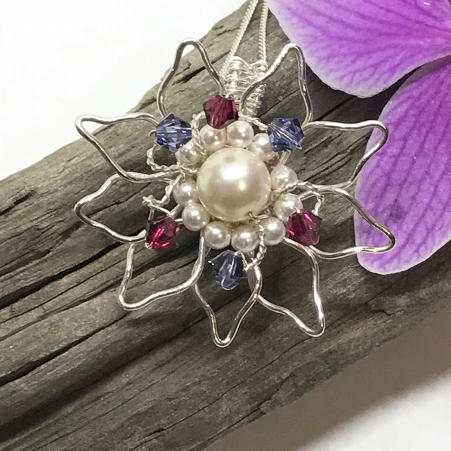 Silver Flower Pendant,with Crystals & Pearls from Swarovski® , Gift For Her,