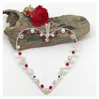 Valentine Heart Decoration, Silver Heart, Red and White Heart