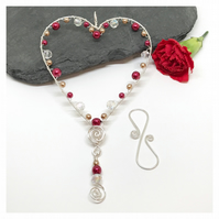Silver Heart Decoration,  Deep Pink and Gold Pearls and Clear Crystals