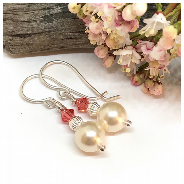 Pearl Earrings with Swarovski Crystals, Sterling Silver