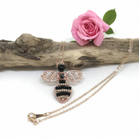 Bee Pendant, Rose Gold Plated, Wire Wrapped
