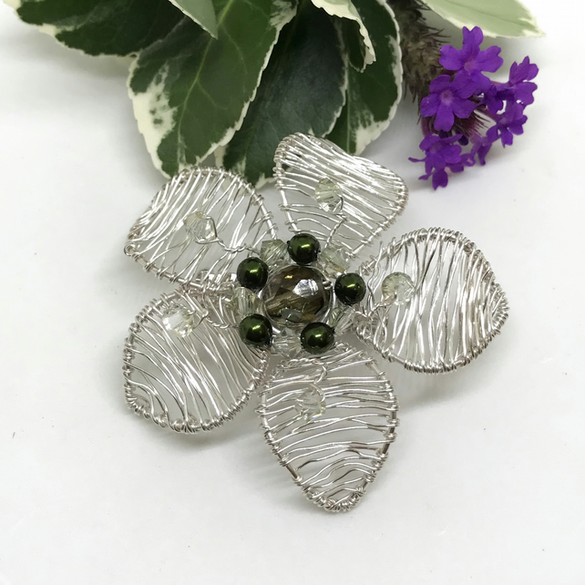 Flower Brooch, Silver Plated Pearls And Crystals