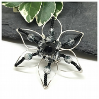 Flower Brooch, Silver Plated, Black And Silver