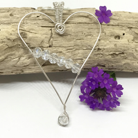 Elegant Silver Heart Pendant With Crystals, Silver Plated