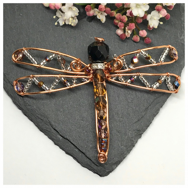 Dragonfly Brooch, Copper and Crystals