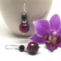 Fuchsia and Black Agate Earrings, Sterling Silver