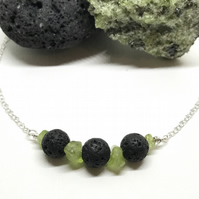 Black Lava Bead and Peridot Chip Sterling Silver Necklace