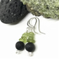 Black Lava Bead and Peridot Earrings, Sterling Silver