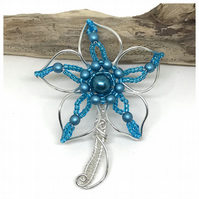 Silver Flower Brooch, Blue and Silver, Gift For Her