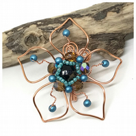 Copper Flower Brooch with Blue Pearls and Crystals