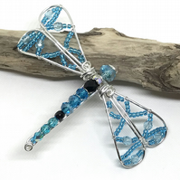 Silver Dragonfly Brooch, With Blue Crystals