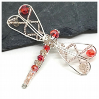 Silver Dragonfly Brooch With Crystals
