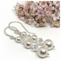 Pearl and Crystal Earrings, Sterling Silver