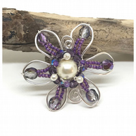 Purple Flower Brooch, Silver and Purple
