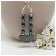 Sale - Silver Hematite Earrings