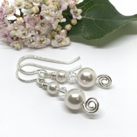 Pearl and Crystal Earrings, Sterling Silver, Swarovski®