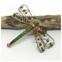 Green Dragonfly Brooch, Copper with Crystals
